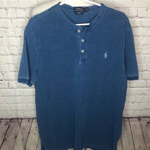Men's Blue Collarless Polo